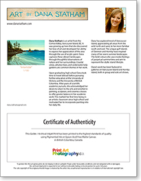 Certificate of Authenticity and Biography