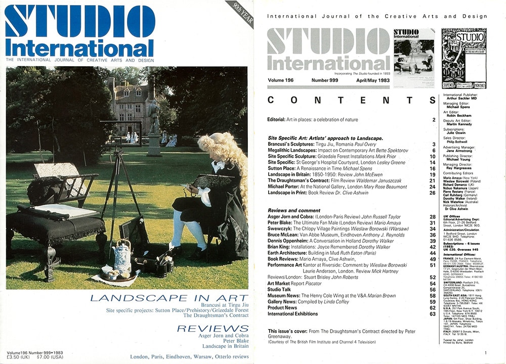 Studio International, Grizedale Article, cover and contents